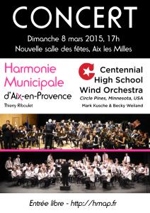 Affiche concert HMAP 8 mars Centennial Wind Orchestra